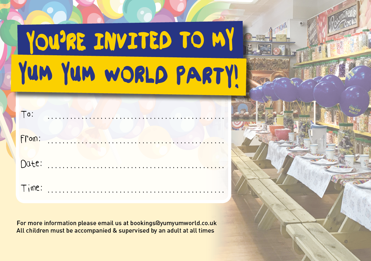 Yum Yum World Kids Party Invite Download
